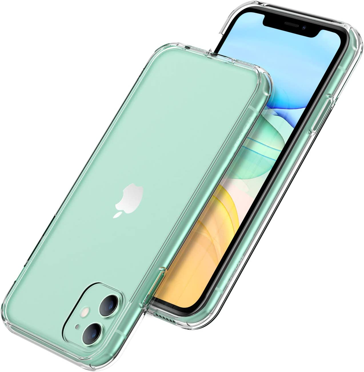 UGT Case Designed for iPhone 11 Case, Shockproof Anti-Watermark Dual Layer Hard PC + TPU Bumper Cover for iPhone 11 Cases 6.1 inch 2019 [Crystal Clear]