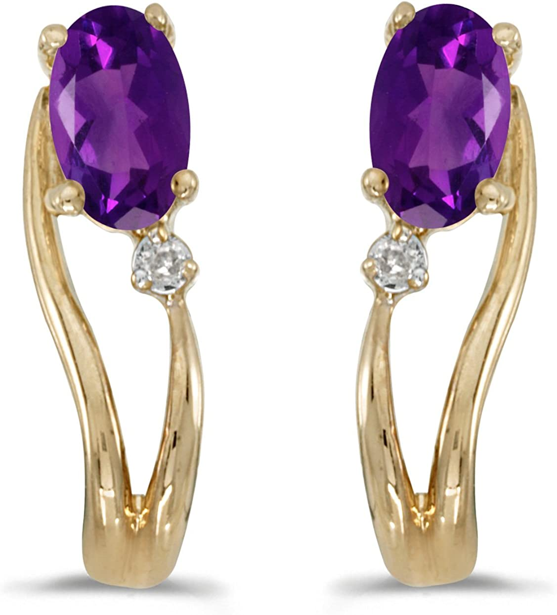 Jewels By Lux 14k Yellow Gold Studs Genuine Purple Birthstone Oval Amethyst And Diamond Wave Earrings 0.36 Cttw.