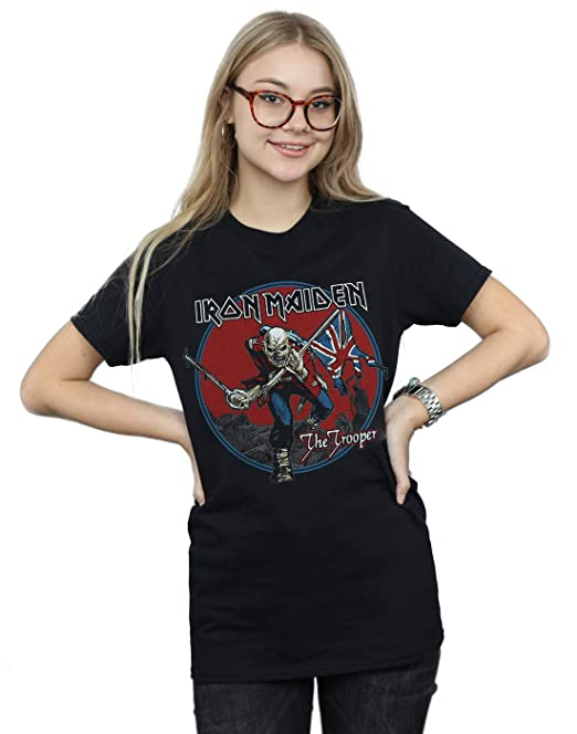Iron Maiden Mujer Trooper Red Sky Camiseta del Novio Fit: Amazon.es: Ropa y accesorios
