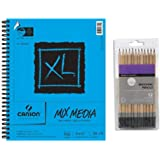 Canson XL Mixed Media Spiral Sketch Pad - 9 x 12 inches - 60 Sheets, with Sketching Pencils