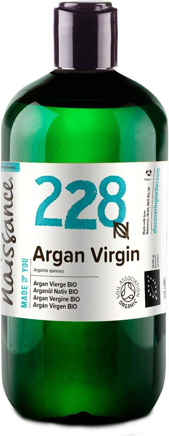 Naissance Aceite Vegetal de Argán de Marruecos BIO n. º 228-500ml - Puro, natural, vegano, certificado ecológico, sin hexano y no OGM - Hidratación natural para el cabello.