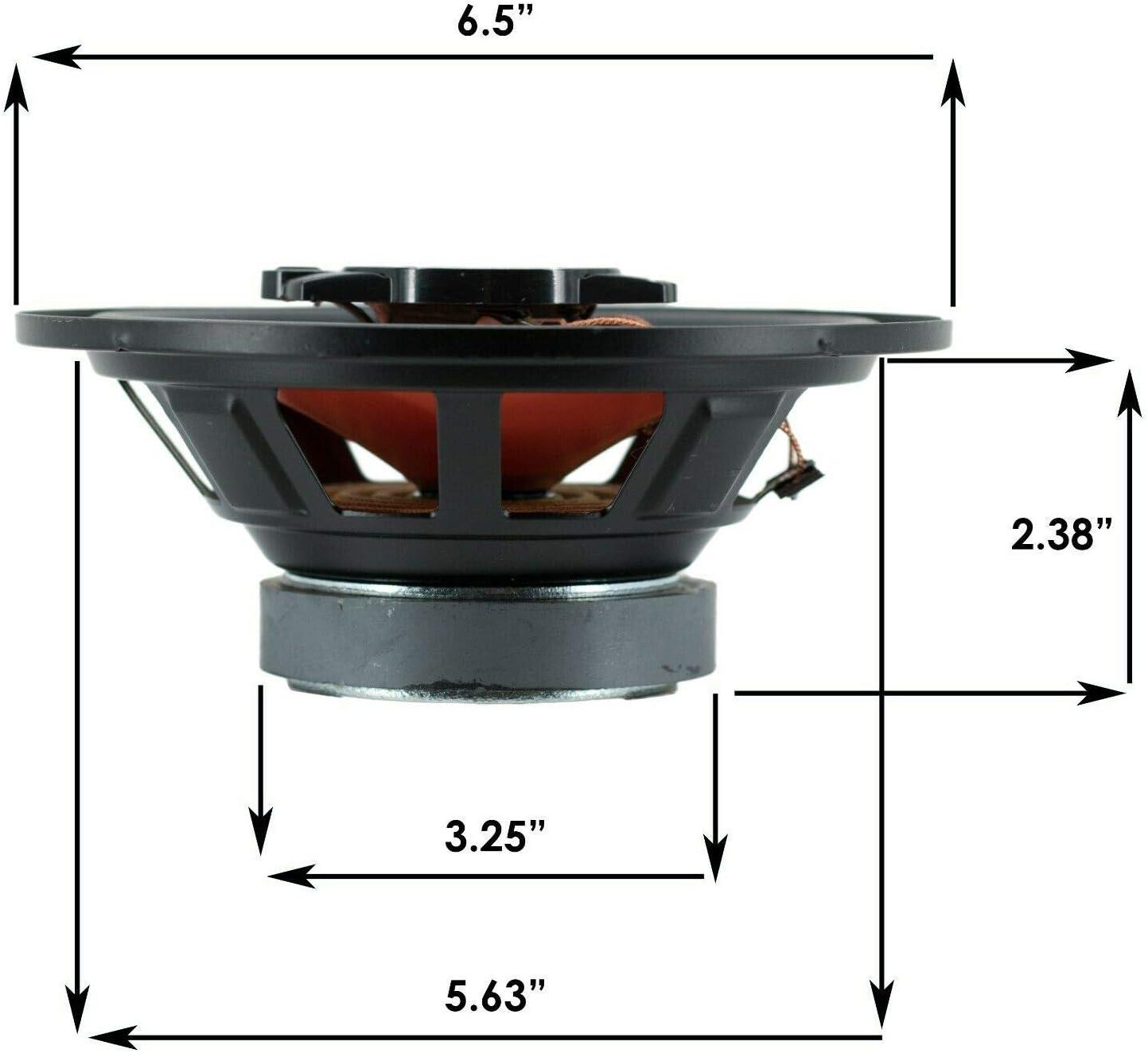 AB674 Pair of Audiobank 6.5 600 Watt 3-Way Orange Car Audio Stereo Coaxial Speaker
