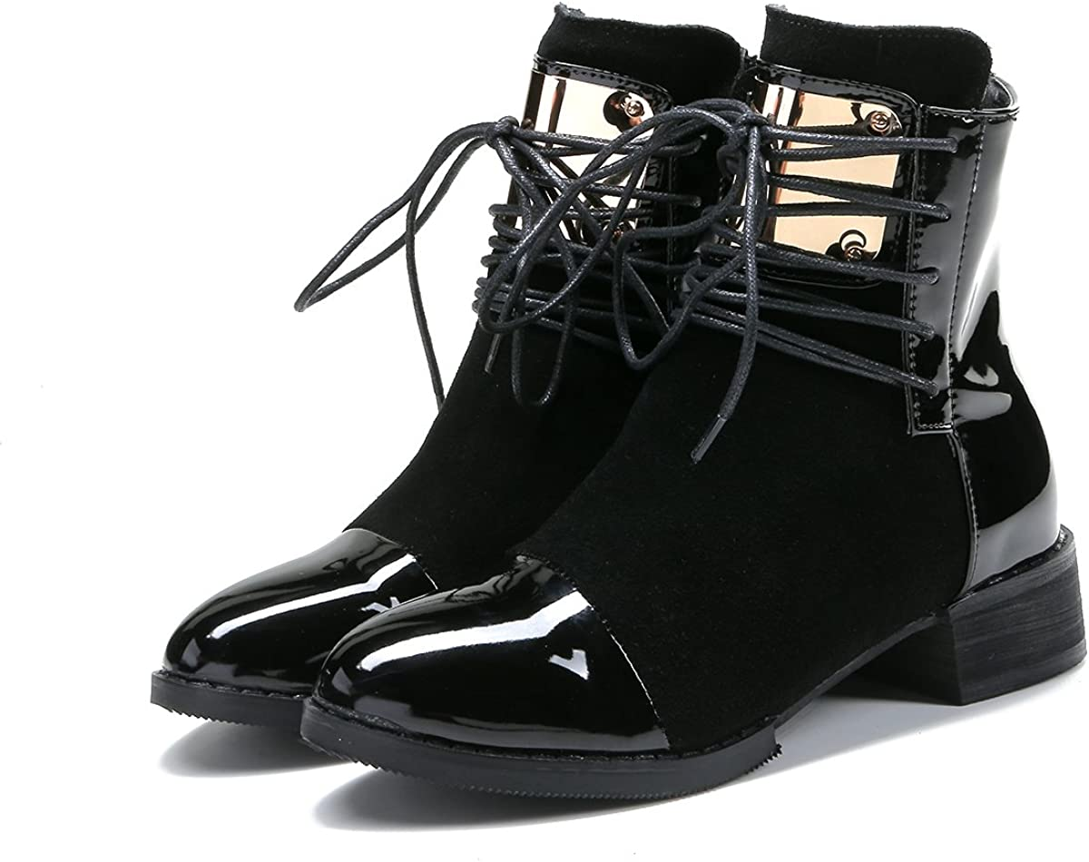 Slduv7 Winter Womens Ankle Boots Patchwork Chunky Heel Leather Bootie Shoes Zip Pointy Toe Fashion Boots