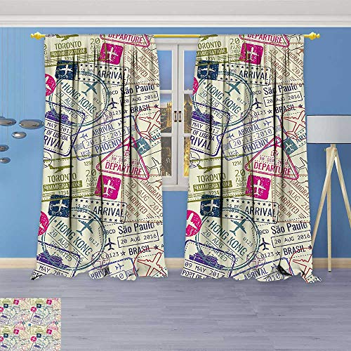 Philiphome Embossed Thermal Weaved Grommet Blackout Curtains Passport Visa Stamps Illustration Toronto Hong Kong Berlin Print Egg Shell and Pink Blocks up to 80% of Sunlight- Premium Draperies
