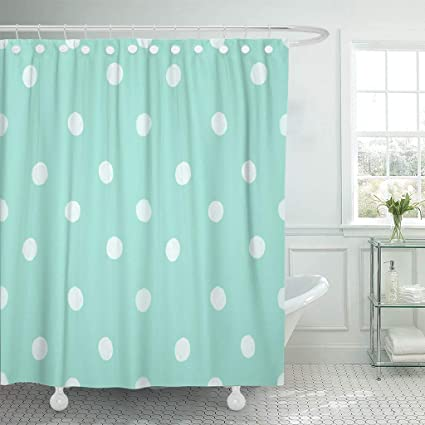 Emvency Fabric Shower Curtain With Hooks Teal Gold Mint Green Polka Dot Pattern Chic Cute