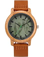 Bamboo Wood Watch,Bamboo Quartz Analog Watch Wooden Wrist Watch with Round Dial for Men Women