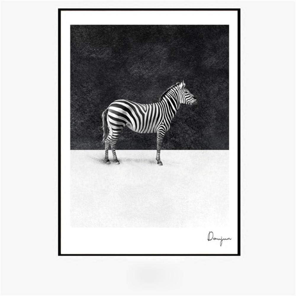 Minimalismo nórdico caballo blanco y negro lienzo pintura animal hogar sala de estar decoración inglés carta cartel imagen de la pared
