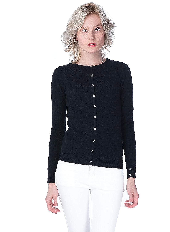 black cashmere 4 U Women's 100% Cashmere Cardigan Basic Slim Crewneck Button Front Sweater