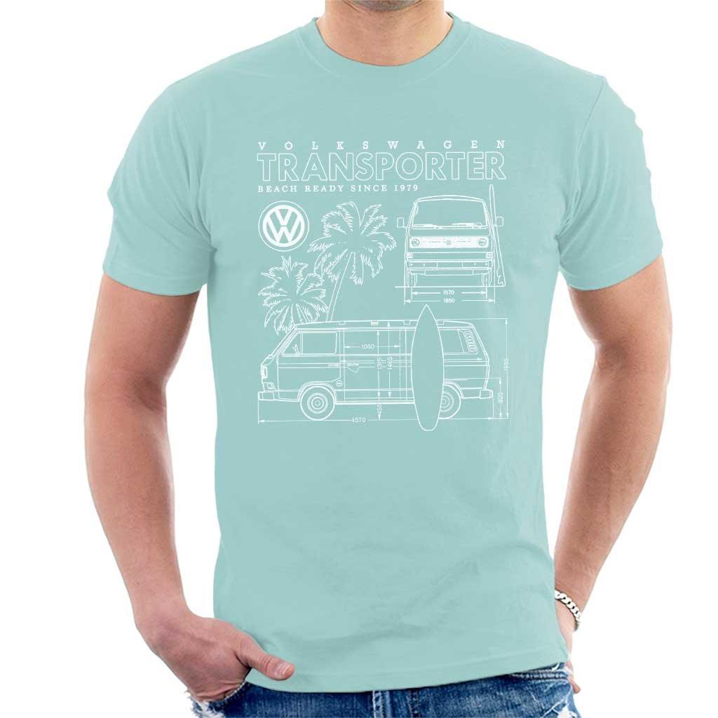 Retro Fred's Volkswagen Transporter Beach Ready Since 1979 Schematic Men's T-Shirt z6pcU