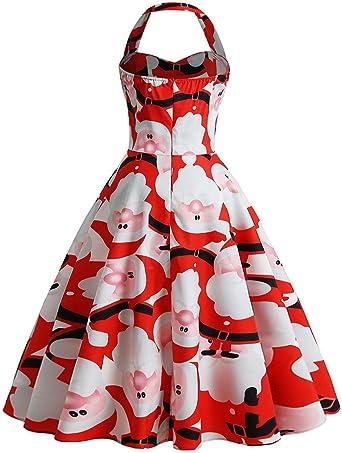 Reooly Vestido de Navidad de Cuello Colgante para Mujer Vestido de ...