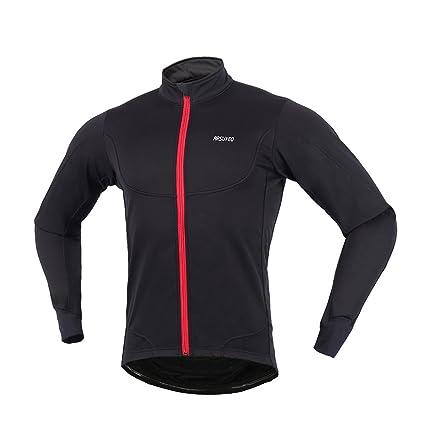201c701f6 ARSUXEO Winter Warm UP Thermal Fleece Cycling Jacket Windproof Waterproof  Light-Weight Black Size X