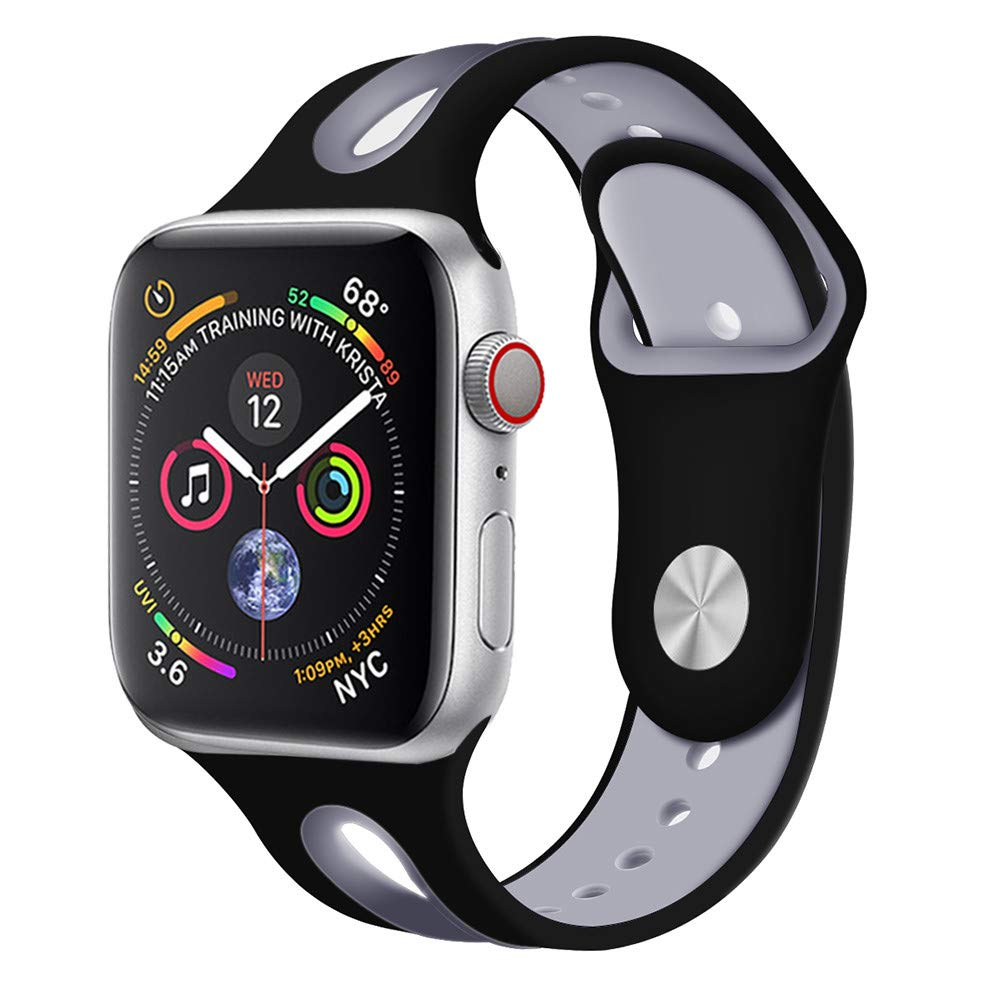 CSSD Cool Silicone Bracelet Watch Bands Wrist Straps for Apple Watch Series 4 40mm (B, S)