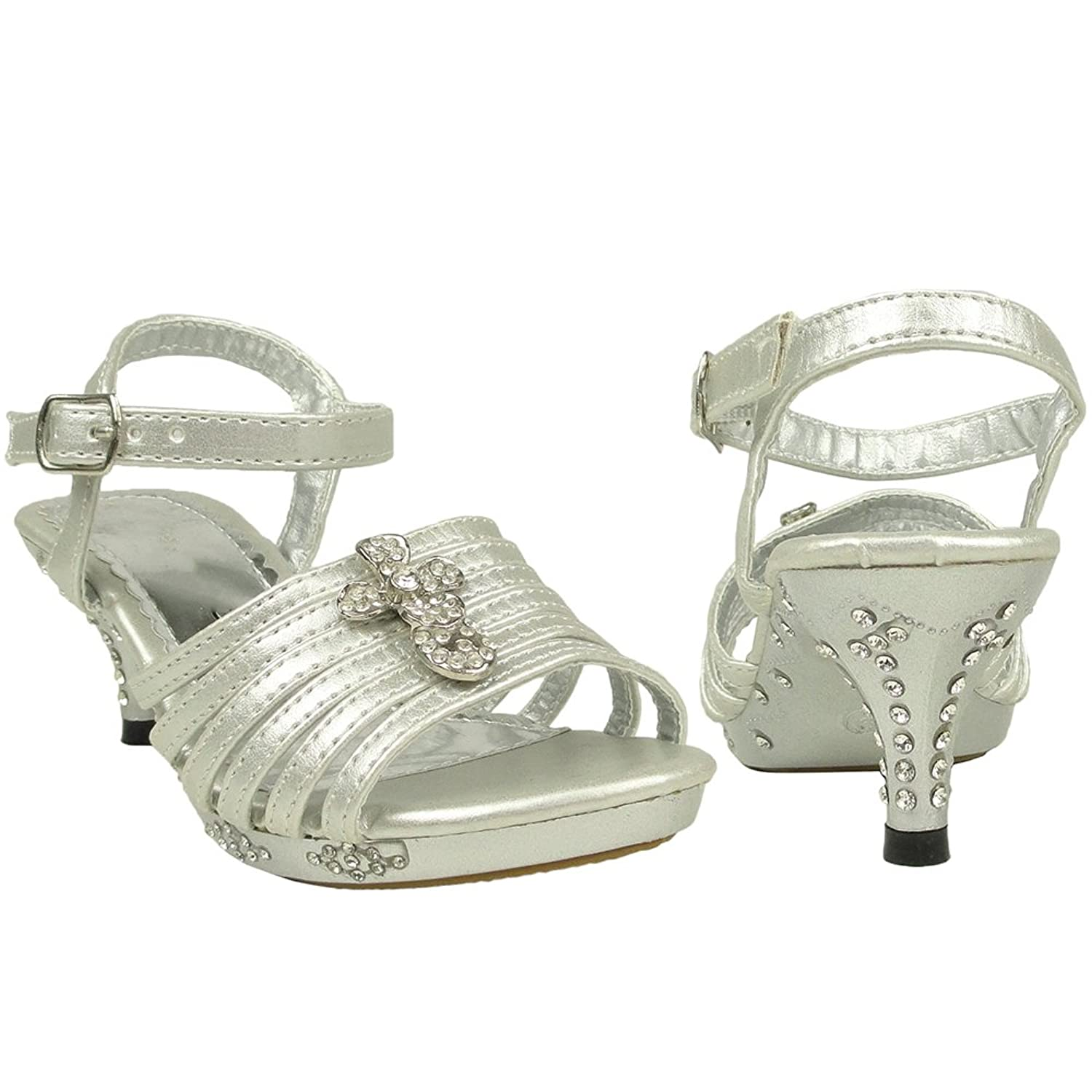 Amazon.com | Girls Strappy Cross Rhinestones High Heel Silver ...