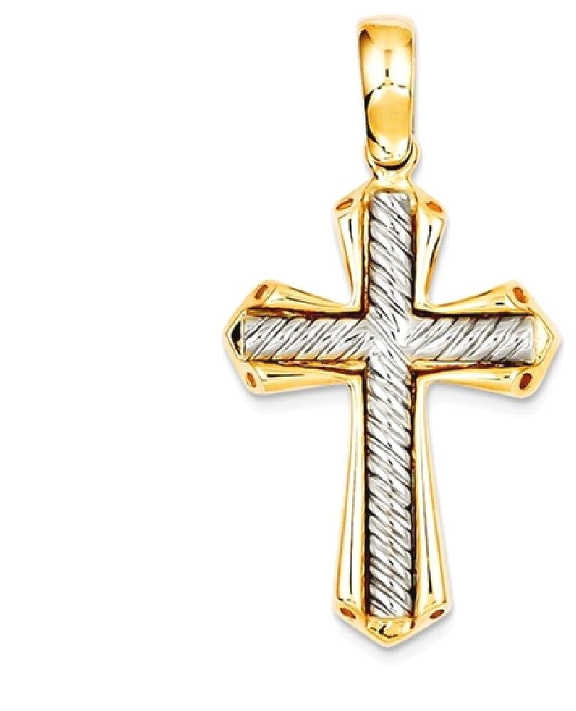 ICE CARATS 14k Two Tone Yellow Gold Solid Cross Religious Pendant Charm Necklace Passion Fine Jewelry Gift Set For Women Heart