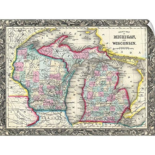 """CANVAS ON DEMAND County map of Michigan and Wisconsin Wall Peel Art Print, 16""""x12"""""""