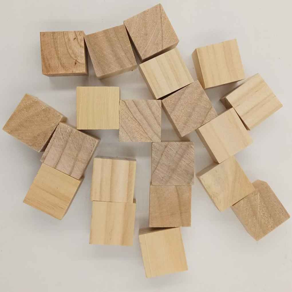 Pine Wooden Stereoscopic Cube Square Bricks Building Blocks Edges DIY Hardwood Craft Toys Carving Decoration Regard