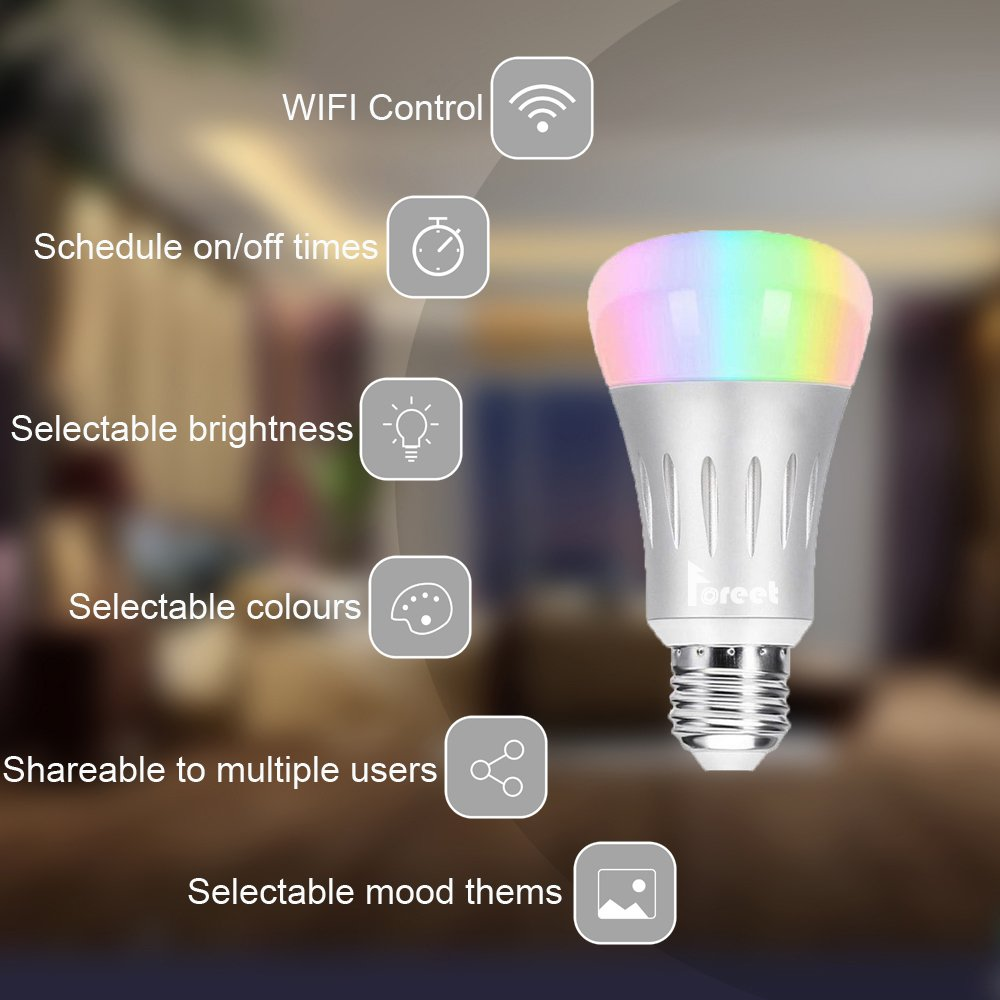 Smart Light Bulb,LED WiFi Light Bulbs,Dimmable Multicolored LED Light Bulbs,Smartphone Controlled Daylight & Night Light,Works with Google Assistant/IFTTT,7W Home Lighting, E27 Base by Foreet (Image #2)