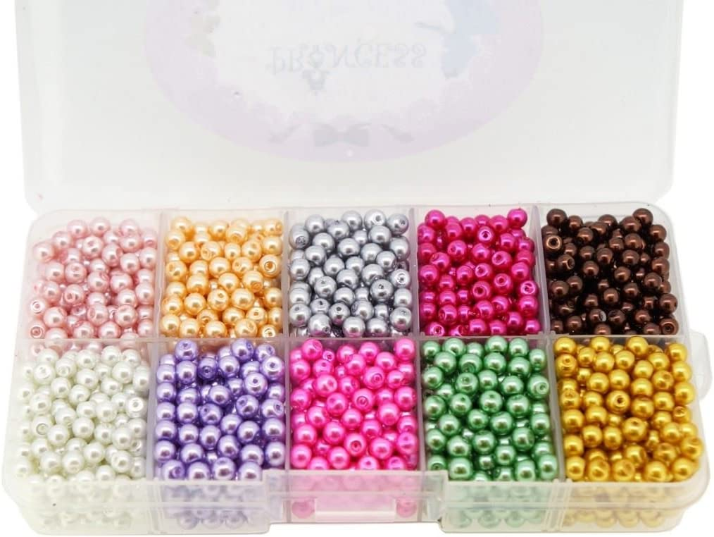 Box Set by Princess-J Mixed Colors Glass Pearl Beads for Jewelry Making Bulk Lot Round 6mm