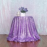 3e Home 90-Inch Round Sequin TableCloth for Party Cake Dessert Table Exhibition Events, Lavender