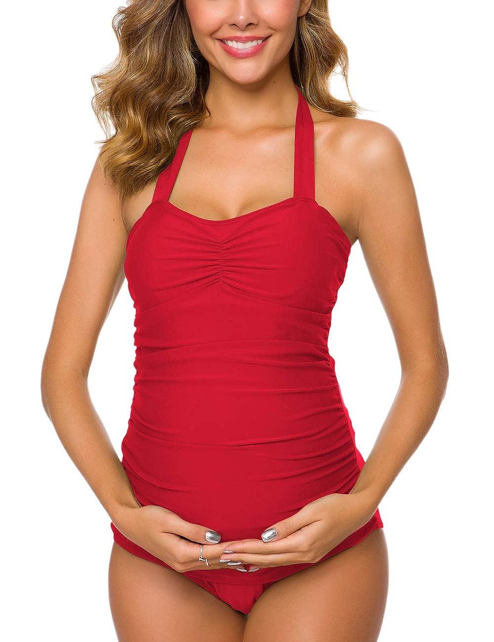 7eb7da5c564 Ziola Women One Piece Maternity Shirred Tank Swimsuits Vintage Ruched  Swimwear Plus Size Pregnancy Beachwear