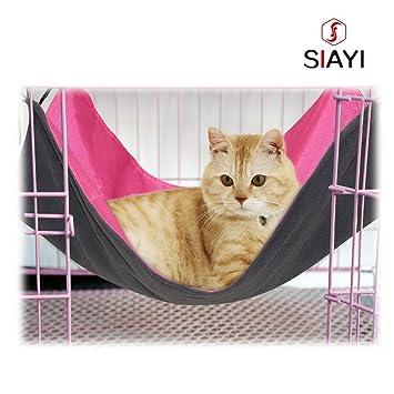 SIAYI Reversible Gato Hamaca Cama Mascota Hamaca Impermeable para Pequeñas Mascotas