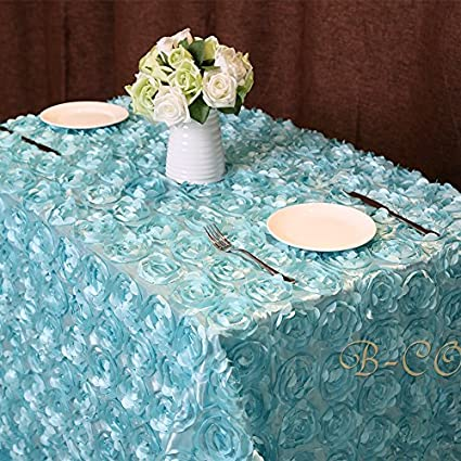 Merveilleux B COOL Rosette Tablecloth Rosette Florals Satin Rectangular  60u0026quot;x102u0026quot; Baby Blue Tablecloth