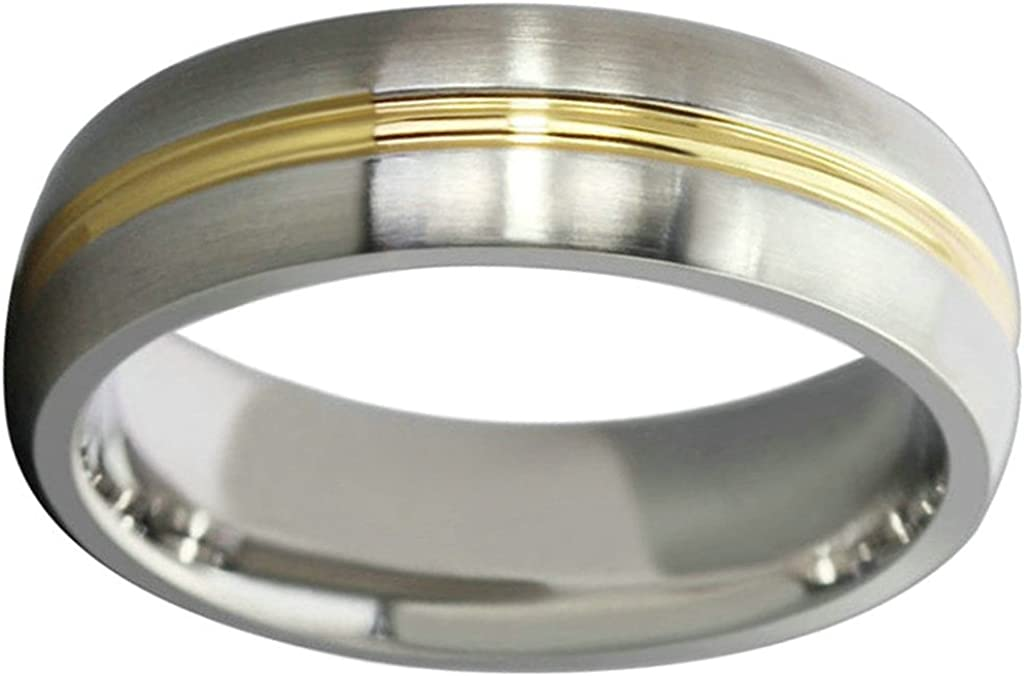 Aooaz Free Engraving Ring Wedding Bands for Mens Circle Round Gold Ring 6mm Wedding Band Promise Ring