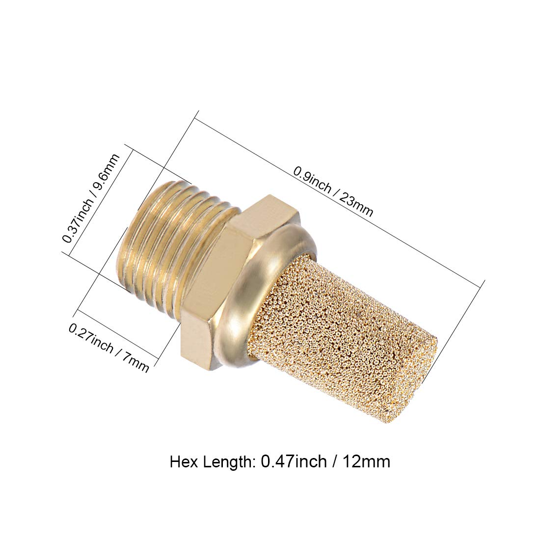 uxcell 3//8 PT Sintered Bronze Exhaust Muffler with Brass Body Protruding 4pcs