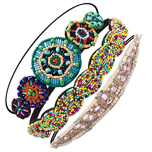 Aprince 3 piece Headbands for Women Headbands Women Hair Rhinestone Headbands Crystal Beaded Headbands for Women Girls Lady Hair Ties Elastic Hair Scrunchies Hair Bobbles Handmade 3 Colors