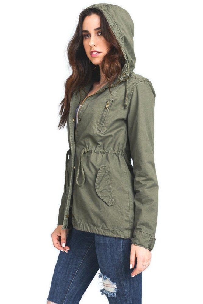 Instar Mode Women's Anorak Safari Hoodie Jacket up to Plus Size (JK22114 Olive, Small)