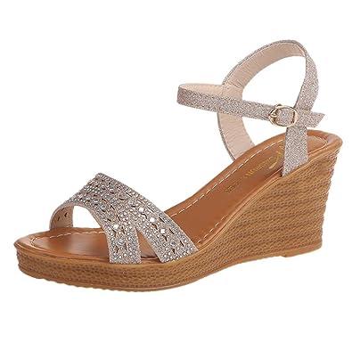 SANFASHION Femmes Sandales Compensées Femme Chaussures Strass Brillant  Tongs d été Casual Peep Toe Platform 653b11285a71