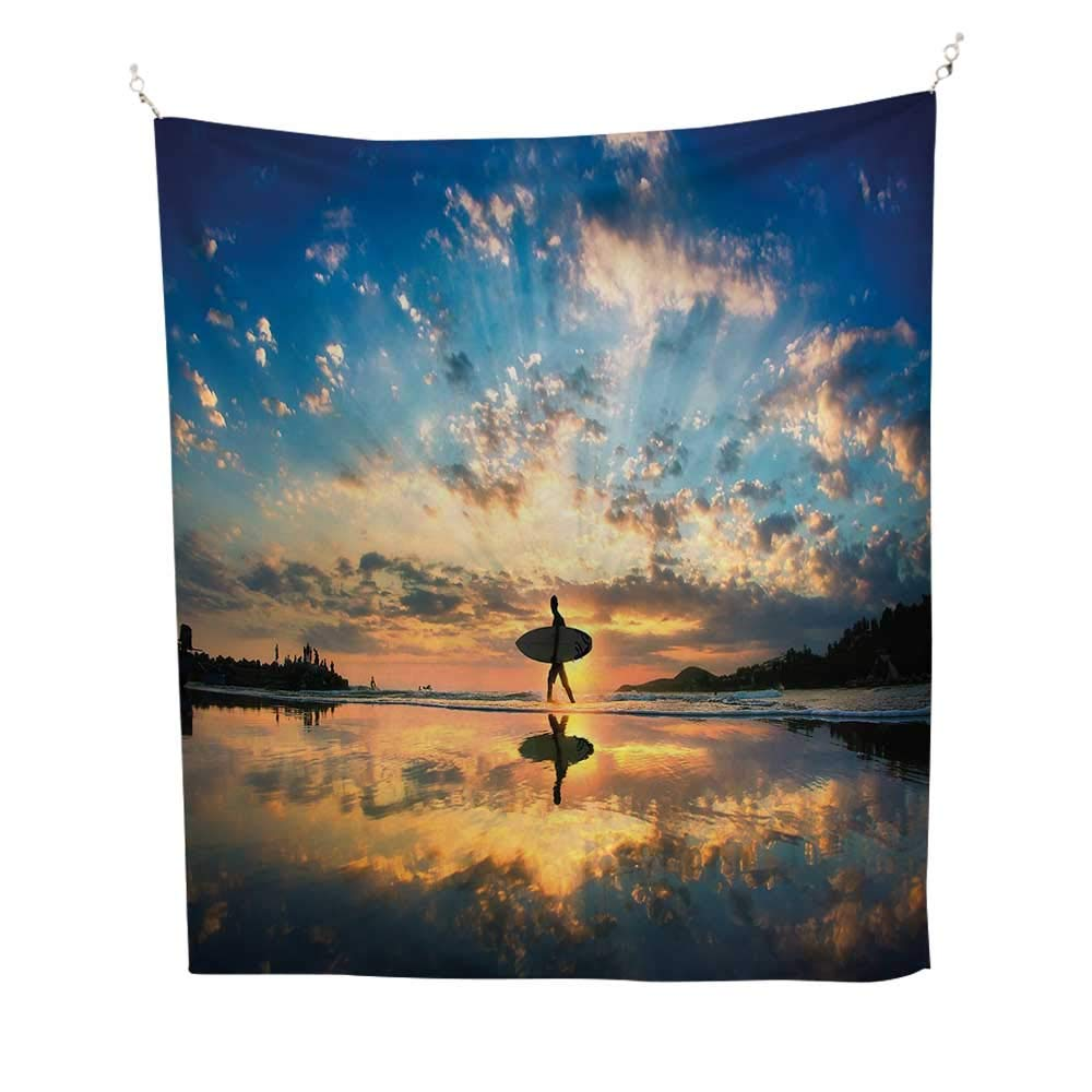 Ride The Waveoutdoor tapestrySurfer Walking Before Horizon with Cloudy Sky Coastal Charm Image 70W x 84L inch Ceiling tapestryViolet Blue Sepia