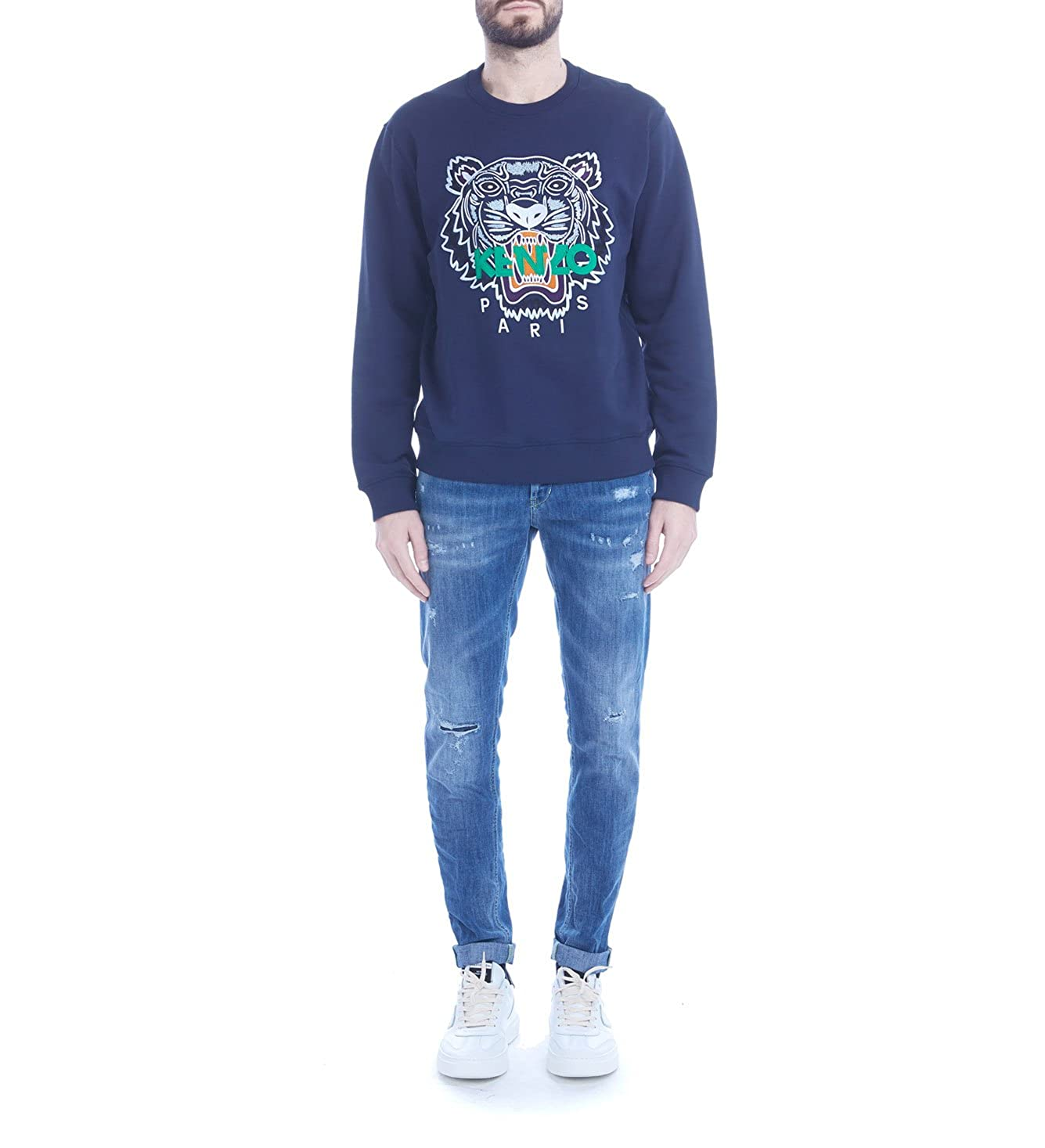 Kenzo Mens Blue Ink Tiger Fleece with Emboidery