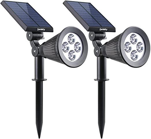 Lumisky Spiky W34 Proyector, Foco Solar con 4 LED para exterior ...