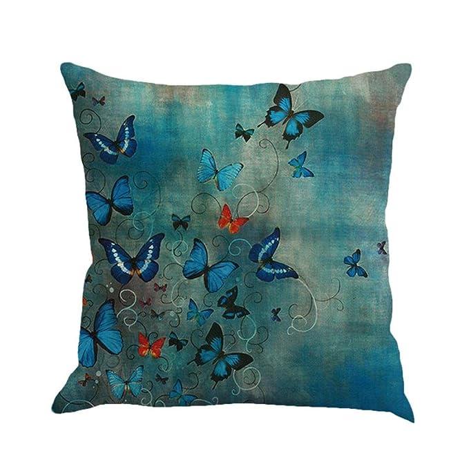 Fossrn Fundas Cojines 45x45 Decorativo Patrón de Mariposa Funda de Cojines para Sofa Jardin Cama