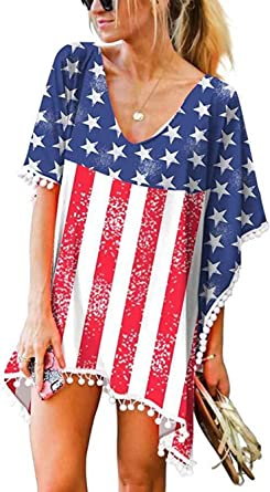 Lomon Women Flag Cotton Beach Coverup Shirt Dress For American Independence Day Pompom Cover Up Kaftan At Amazon Women S Clothing Store
