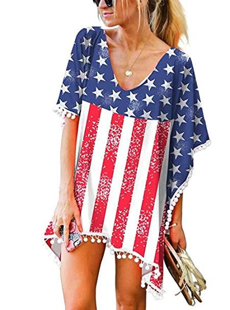 45ac8b0159 LOMON Women Flag Chiffon Beach Coverup Shirt Dress for American  Independence Day Pompom Cover Up Kaftan