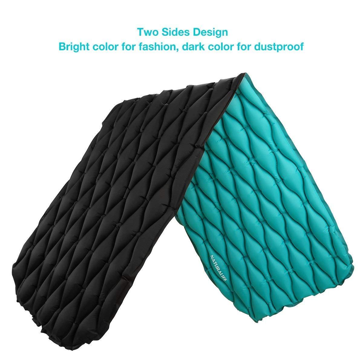 Naturalife Colchón Inflable para Dormir fácil de inflar para Camping, mochileros, Excursionismo, Azul-Verde en la Parte Superior y Negra en la Inferior: ...