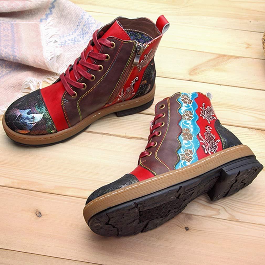 Hy Hy Hy Damenschuhe Leder Frühjahr Herbst Winter Retro Freizeitschuhe Komfort flach Retro National Wind High-Top-Stiefelies handgefertigt europäischen und amerikanischen Stil Mode Stiefel (Farbe   Rot) d577a3