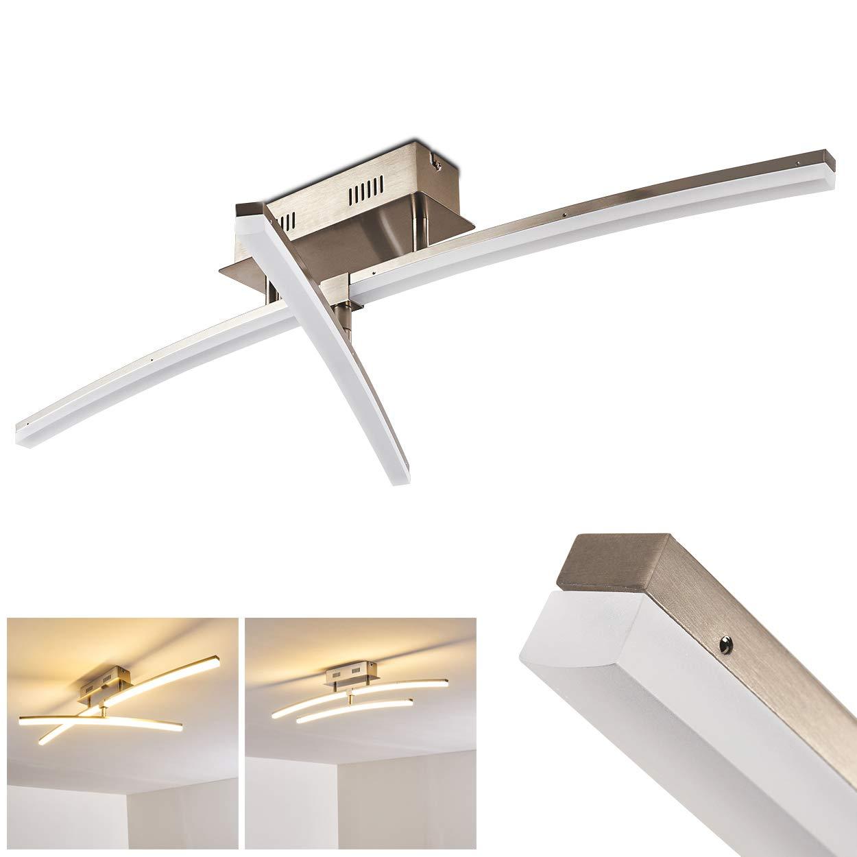 LED Deckenleuchte Teulon aus Metall in Nickel matt - LED Deckenlampe mit zwei drehbaren Leisten – 3000 Kelvin warmweißes Licht für das Wohnzimmer - Kunstobjekt und Wohnraumlampe – 2466 Lumen