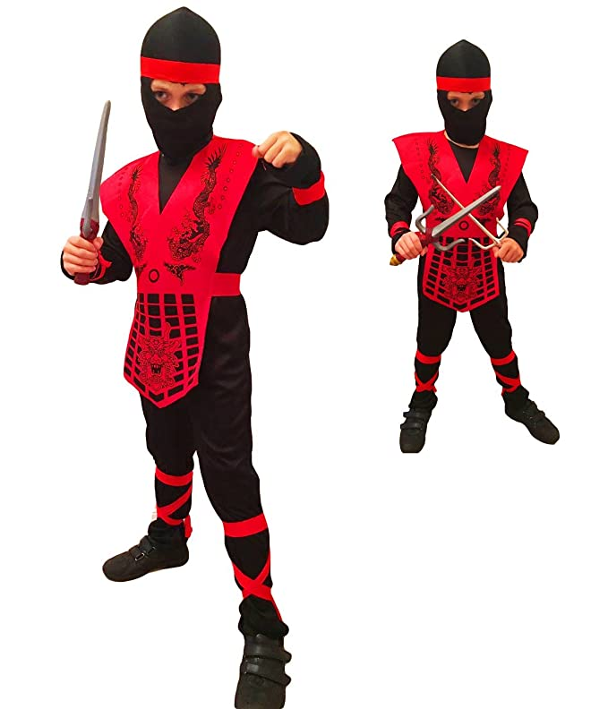 Rubber Johnnies TM Infantil Rojo Negro Combate Mortal Disfraz Ninja Sub Zero GI Joe Disfraz - Negro/Rojo, 8-10 Years