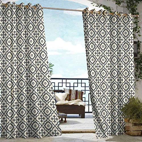 DILITECK Grommet Outdoor Curtains Quatrefoil Edwardian Style Vintage Tessellation Pattern in Plain Colors Rich Floral Motifs Waterproof Patio Door Panel W96 xL84 Taupe Beige ()
