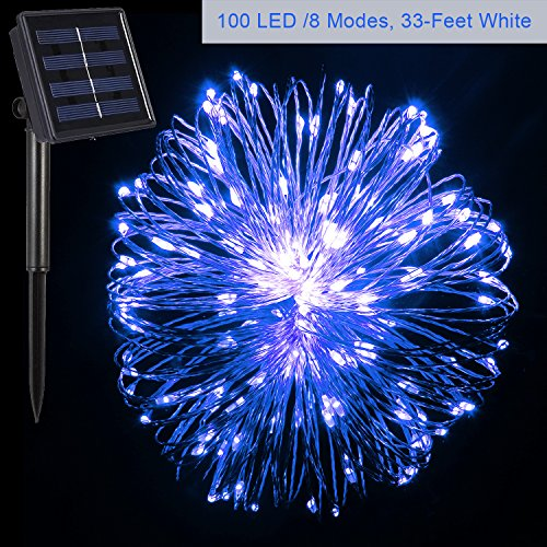 Morecoo 100 LED Solar Powered String Light with 8 Lighting Modes, 33-Feet (Blue)