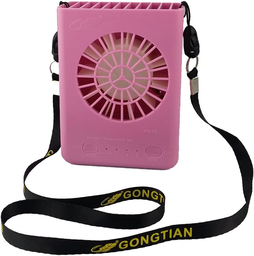 GONGTIAN NewSilkRoad 4.7 Mini Hanging Neck USB Rechargeable Emergency Fan 3 Speeds with 18650 Lithium-Ion Battery and USB Cable W910 Pink