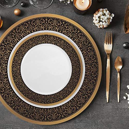 Majestic Durable Plastic Dinner Plate - Set of 32 Disposable Dinner Plates Bundle Combo | Premium Quality Firm White Plastic | Elegant Gold on Black Designed Rims | Bulk Qty 16x 10.25'' Dinner Plates + 16x 7.25'' Salad Plates
