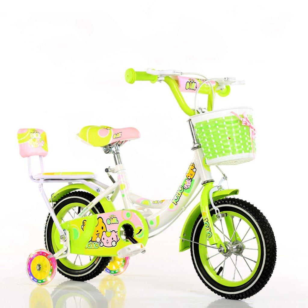 子供の自転車バイク3-5歳の少女サイクリング14インチの点滅する赤ちゃんのキャリッジハイカーボンスチール自転車、ピンク/青/緑 (Color : Green) B07CXJ8B47