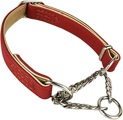 ROLLED LEATHER DOG COLLAR SLIP CHOKE ROUND SMALL PUPPY LARGE TRAINING FREE TAG