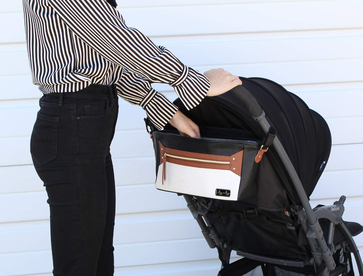 Itzy Ritzy Adjustable Stroller Caddy - Stroller Organizer Featuring Two Built-in Pockets, Front Zippered Pocket and Adjustable Straps to Fit Nearly Any Stroller, Coffee and Cream by Itzy Ritzy (Image #3)
