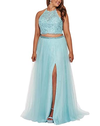 2 Piece Plus Size Formal Dresses Women Halter Lace Beaded ...