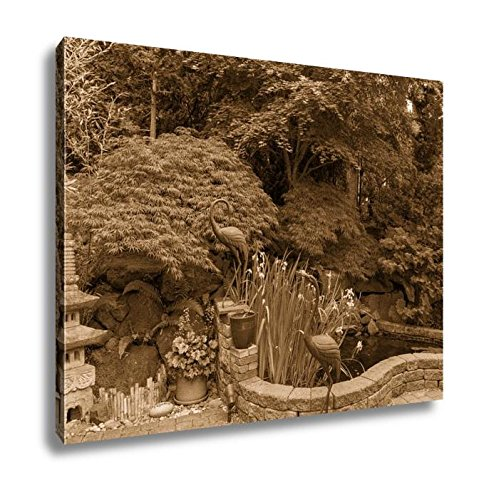 Ashley Canvas Home Garden Backyard With Lush Plants Japanese Landscaping Pond Stone Pagoda, Kitchen Bedroom Living Room Art, Sepia 24x30, AG6503752 by Ashley Canvas